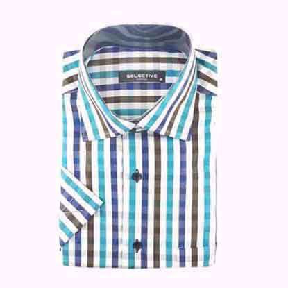 تصویر پیراهن چهار خانه آبی قهوه ای مدل اسلیم فیت