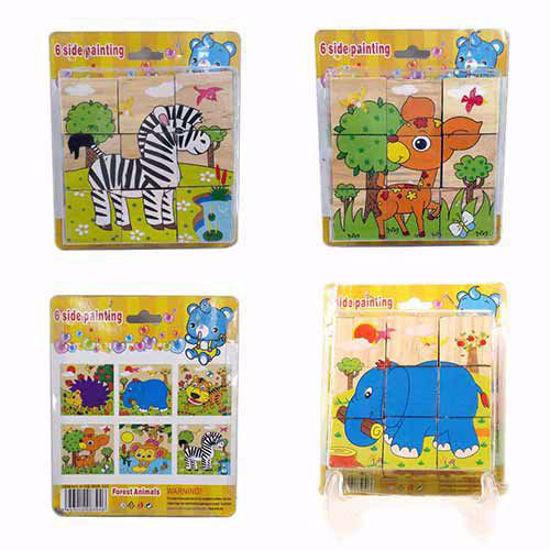 پازل چوبی 6 وجهی 3*3 (9 تکه) طرح حیوانات جنگلی 2