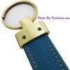 تصویر جا کلیدی چرمی سبز آبی با آویز طلایی