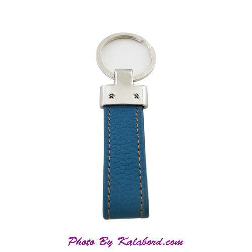 تصویر جاکلیدی چرمی سبز آبی با آویز نقره ای