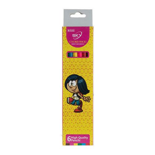 مداد رنگی 6 رنگ sky طرح دختر