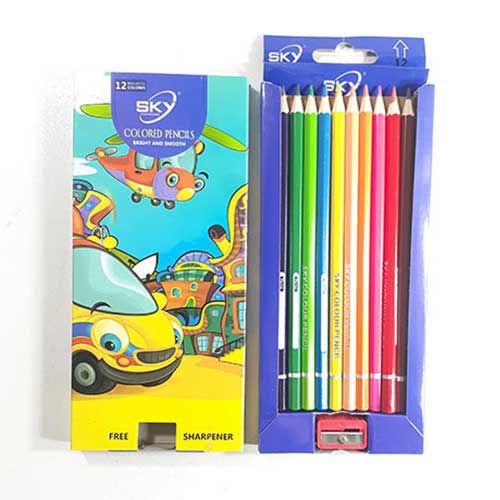 مداد رنگی 12 رنگ sky به همراه تراش