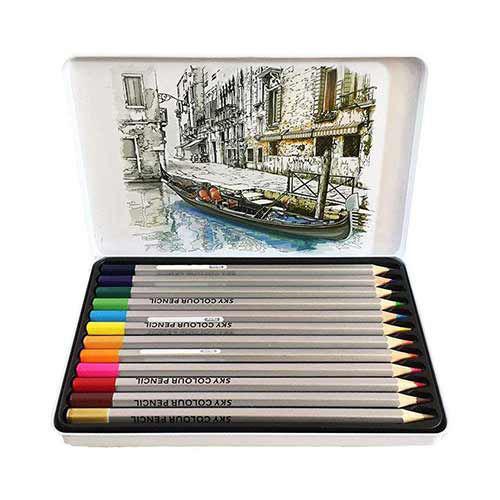 تصویر مداد رنگی 12 رنگ جعبه فلزی SKY مدل آرتیست