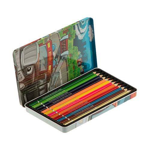 مداد رنگی 12 رنگ جعبه فلزی SKY