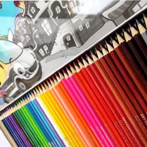 تصویر مداد رنگی 48 رنگ جعبه فلزی SKY مدل بچه گانه